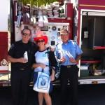 Firemen and firetruck at Cloverdale Fairgrounds